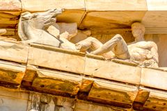 Detail of columns and frieze of the Parthenon at Acropolis in Athens, Greece stock photo