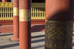 Detail of columns in a burmese temple Stock Image