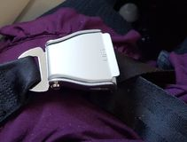 Airline seat belt buckle Royalty Free Stock Photo