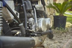 The mechanics of the vintage motorcycle all cleaned up. royalty free stock image