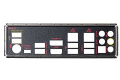 Detail of  computer with the connector symbols isolated on wh Royalty Free Stock Image