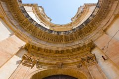 Detail of the concave façade of the church of Montevergine or S. An Girolamo in Noto, Sicily stock image