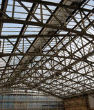 Detail of Concourse roof at Railway Station, Aberdeen, Scotland. Glass above curved roof trusses at concourse, Aberdeen Station, Scotland Royalty Free Stock Photo