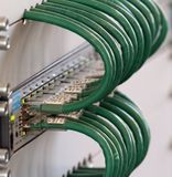 Detail of connection of the Green network cables in a firewall a Royalty Free Stock Images