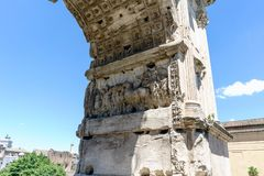 Detail of Constantine`s Arch at the Colosseum Square royalty free stock images