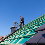 Detail of the construction of a new roof Royalty Free Stock Images