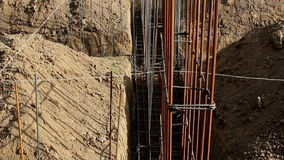 Detail of construction site. Foundation construction for home building stock video footage