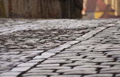 Detail of cooblestone pavement Royalty Free Stock Photo