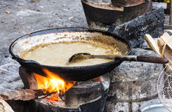 Frying Pan with sauce - Street food in Laos Royalty Free Stock Images