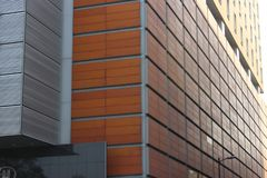 Detail of the corners of a building in Mexico City stock images