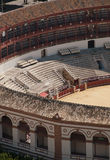 Detail of the corrida amphitheater. The detail of the corrida arena in Marabella, Spain stock images