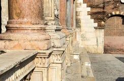 Loggia del Consiglio o di Frà Giocondo. Detail of the corridor with columns of the Loggia del Consiglio, Piazza dei Signori, in Verona in Italy stock image