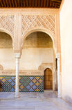 Detail of cortyard in Alhambra, Granada, Spain. Details of patio de los Arrayanes (Court of the Myrtles) in Alhambra, Granada, Spain Stock Photos