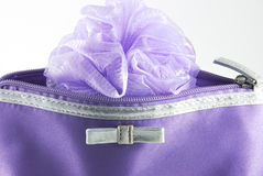 Detail of cosmetic bag. With sponge Royalty Free Stock Photo