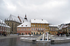 Detail of the Council Square (Piata Sfatului) Brasov, Transylvania Stock Images