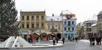 Detail of the Council Square (Piata Sfatului) Brasov, Transylvania Royalty Free Stock Image