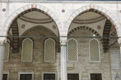 Detail of courtyard on the Blue Mosque in Istanbul, Turkey. More than 32 million tourists visit Turkey each year Stock Photo