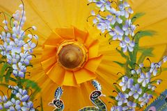 Detail of craft umbrella with painting design Stock Image