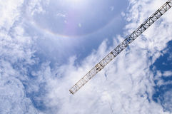 Detail of crane with Sun halo, Sprectrum Royalty Free Stock Photos