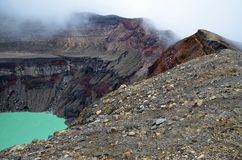 Detail of a crater in the mist, Santa Ana volcano Royalty Free Stock Images