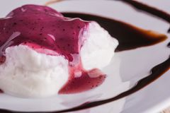 Detail of creamy dessert with berry sauce and chocolate topping royalty free stock photography