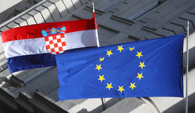 Detail of Croatian and Eu flags Royalty Free Stock Photo
