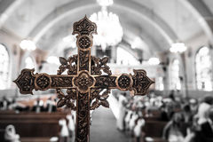 Detail of a Cross inside a Church Stock Images