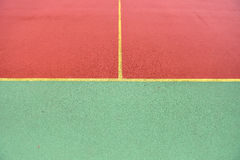 Detail of crossed yellow lines on football playground. Detail of Stock Photos