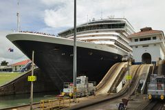 Detail of cruise ship in Lock, Panama Canal Stock Photos
