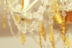 Crystal chandelier detail. Detail of crystal glass chandelier royalty free stock photography