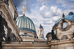 The detail of cupolas on Academy of Fine Arts - Dr Royalty Free Stock Photos
