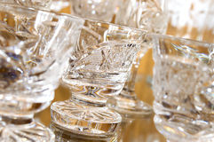 Detail of cut glass cups Royalty Free Stock Photo