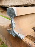 Detail of cut rail. Autogen torch  cut rail rod on concrete sleeper. Repair of tramway. Royalty Free Stock Photography