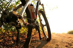 Detail of cyclist man feet riding mountain bike on outdoor Stock Images