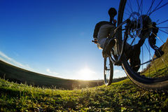 Detail of cyclist man feet riding mountain bike on outdoor trail in sunny meadow. Detail of the bicycle. Wheel. Legs and hand. Sunset. Low angle and fisheye Stock Image