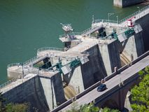Detail of the dam of the artificial lake of Mercatale, Italy Royalty Free Stock Image