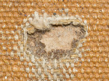 Detail (damage) of an old canvas suitcase, close-up Royalty Free Stock Images