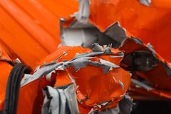 Detail of damaged car chasis after dangerous car crash with torn and wringled metal stock photo