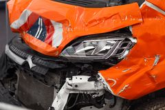 Detail of damaged car chasis after dangerous car crash with torn and wringled metal royalty free stock photography