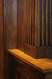 Detail of dark wooden furniture. Kitchen. Royalty Free Stock Photo