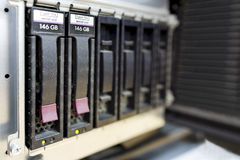 Detail of data center with hard drives Royalty Free Stock Photo