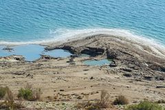 Dead Sea Shoreline near Ein Gedi in Israel. A detail of the dead sea shoreline near ein gedi showing salt deposits, sink holes, salt water, and desert vegetation royalty free stock photos