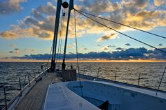 Detail of deck of luxury sailing yacht Royalty Free Stock Photography