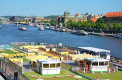 Detail of decks of cruise ships, Prague Stock Photo