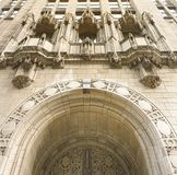 Detail of the decorated arch at the entrance of the Tribune Tower in Chicago. Chicago, IL, USA, October 2016: Detail of the decorated arch at the entrance of the royalty free stock image