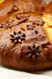 Detail of decorated bread stock images