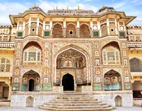 Detail of decorated gateway. Amber fort. Royalty Free Stock Images