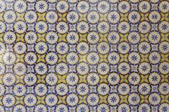 Detail of decorated portuguese tiles. In Lisbon historical city center, the Alfama, there can be several samples of a form of art inherited from the moors and Stock Photo