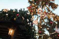 Detail decoration shot of Traditional christmas market in the historic center of Prague royalty free stock photo