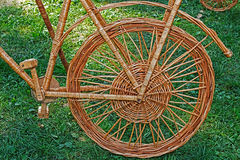 Detail of decorative bike made from twigs Royalty Free Stock Photo